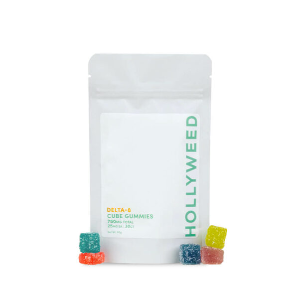 Dekta 8 Gummy Cubes Hollyweed with product outside packaging